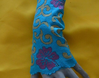 Sleeves cuffs lace multicolor blue multicolor mittens blue lace sleeves, sleeve lace flowers, print lace