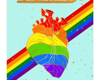Rainbow heart LGBT hard enamel pin PREORDER