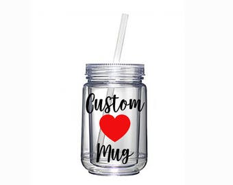 Custom Mug | Mason Jar | Coffee Mug | Gift for Her | Personalized Cup | Bridal Shower | Wedding Shower | Birthday Party |