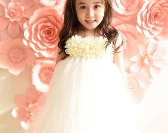 Tulle Girl dress wedding bridal recital children white