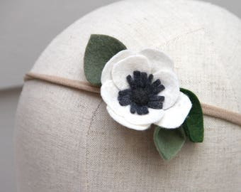 cream anemone felt flower headband / nylon headband / wool blend felt / handmade felt flower / baby, newborn, photography prop