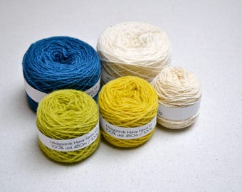 Naturally Dyed Folkvang Knitting Kit - blue, green, yellow