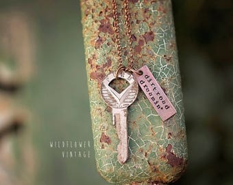Ford Vintage Key Necklace | Hand Stamped Repurposed Copper Dirtroad Dreamin Dirt Road Outdoorsy Southern Gift