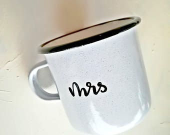 Mr and Mrs mugs, set of enamel mugs, camping mugs, wedding gift, valentines gift, coffee mugs, wedding couple gift, couples gift, valentine,