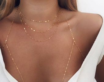 Three Layers Necklace, Gold Fill, Delicate Necklace, Prom, Dainty Necklace, Layered Necklace