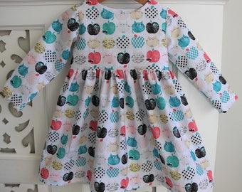 Toddler Girls Dress Size 2 / Longsleeve Dress / Party Dress / babies clothing  / 2T Summer Dress / Retro Dress Cat Dress