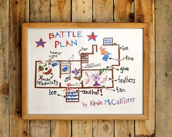 Battle Plan By Kevin McCallister Poster Drawing Christmas Movie Prop Blueprint Floor Plans Wet Bandits Map Home 90s Wall Art Print Gift Idea