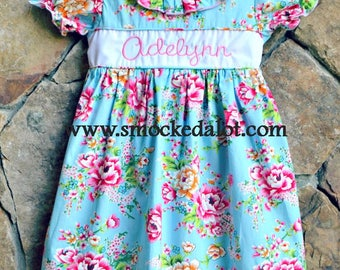 Girls Dress- precious Aqua Pink Floral Rose Fabric with Monogram Name by Smocked A Lot Birthday Vintage