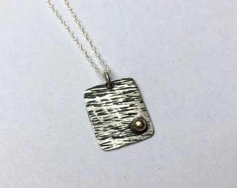 Silver and gold pendant/hammered silver pendant with gold/sterling silver and real gold pendant/square hammered silver and gold pendant
