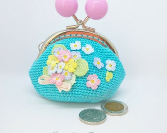 Blue crochet coin purse, Kiss lock coin purse, Crochet bouquet, Flower kisses pouch, Christmas gift, Crochet wallet