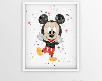 Mickey Mouse Wall Art mickey mouse wall art mickey mouse watercolor mickey mouse