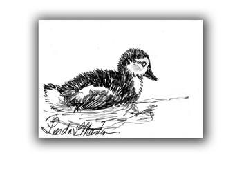 Baby Nursery Duckling Duck New Mom Spring Original Drawing llmartin ACEO  Collectible