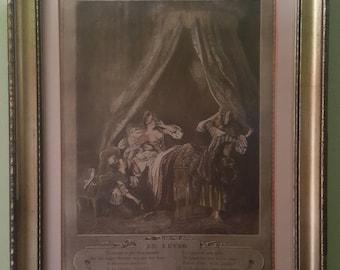 "French Engraving Renaissance Art 1774's ""Le Lever"", (The Arising) Aristocratic Lady Boudoir Print Romantic Period"