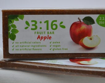 3:16 Apple Energy Bar for paleo, gluten free, and vegan diet. Made from real fruits and nuts. Nothing else.