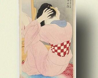 Woman Wearing an Under-Sash - Ito Shinsui Print Ukiyo-e Poster Japanese Wall Art Shinsui Poster Gift Idea Japanese Art
