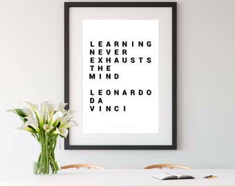 LEONARDO DA VINCI, da vinci, da vinci quote, da vinci print, printable art, quote printable, instant download art, philosophy gift, 16x20