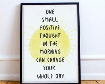 Positive Thought · Printable · 8 x 10 · Instant Download · Wall Art · Bedroom · Nordic Style · Yellow · Typography · Positivity · Tumblr