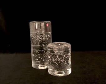 Vintage IITTALA of Finland Set of 2 ARKIPELAGO Cylindrical Candleholders by Timo Sarpaneva Mid Century Modern Finnish Art Glass Retro