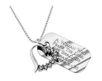 Crescent Heart Necklace/Custom Verse Tag- Women's