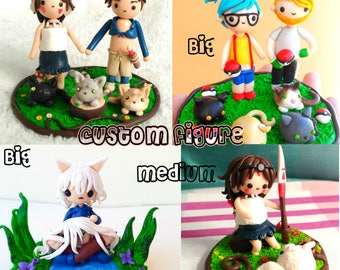 Custom figurine with custom base. Couples, characters, cake topper... Let your imagination become reality!