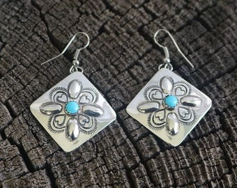 Native American Jewelry,Navajo,Sterling,Navajo Silver,Native American,Turquoise,Native,earrings, Navajo Sterling Silver & Turquoise Earrings