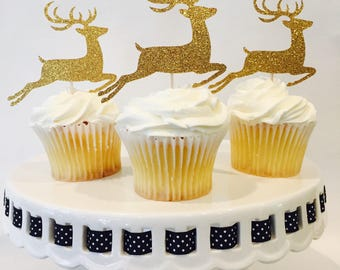 12 Christmas Cupcake Toppers - Reindeer - Gold Glitter - Christmas Party - Holiday - Party Decorations - Rudolph - Cake Topper