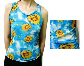 Vintage Blue Sky Yellow Sunflower  Women's Tank Top Mesh See Through