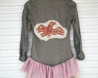 REVAMP - Repurposed Button Down - Thunderbird - Longsleeve - Lace Trim Top - SIZE SMALL