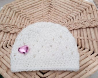 Baby Girl Hat, Crochet Baby Hat, Baby Shower Gift, White Hat,  Fit 3-6 months. Shinny Hat, Valentine's Day