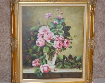 Floral Designed Oil Painting w/Ornate Gold Frame