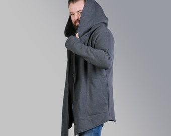 Men's sweatshirt, mens gift , Men's Clothing, hoodies, Asymmetrical coat, Gray hoodies, Warm Sweater, Black hoodi, zipper, jacket