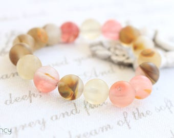 Natural stone bracelet for woman , natural matte bracelet, natural agate bracelet , matte bead bracelet pink , gift for mother of the bride