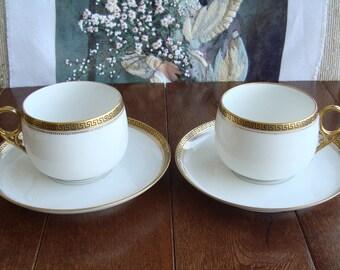 Limoges Orleans L. R. France -2 Sets Fine Porcelain Tea Cups and Saucers - White with Gold Greek Key Trim