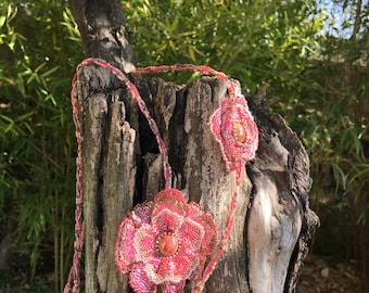 Burgundy flowers with miyuki beads and coral necklace