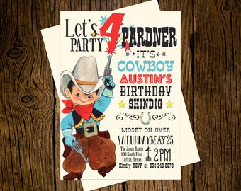 Cowboy Western Birthday Party Invitations Personalized Custom Printed Set of 12 Party Invites Vintage Ecru Rustic Red Blue Brown