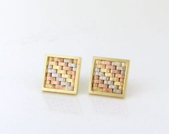 Fashion 14k Tri-Color Gold Square Earrings! Goes great with anything. Tres Chic! GOLD10014
