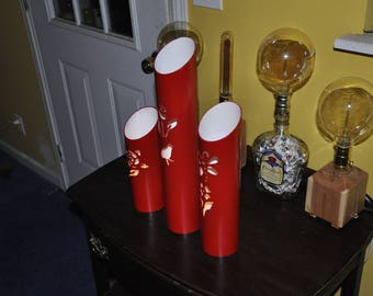 Set of 3 PVC Red Votive Lanterns With Flowers Birds Butterfly