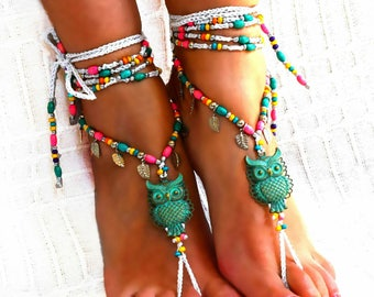 Owl Patina vintage barefoot sandals, toe ring, anklet, jewelry sandals yoga, Foot Beach, Crochet sandals, beaded sandals, Wedding