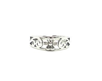 Flower Toe / Midi  Ring - Sterling silver