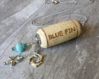 Wine Cork Necklace / Dolphin & Starfish Charms / Silver Jewelry / Blue Fin / Wine Lover Birthday Gift / Upcycled Cork / Sympathy Remembrance