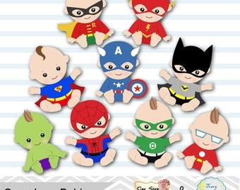 18 Baby Boy Superhero Digital Clipart, Boys Superhero Baby Clip Art, Baby Boy Party, Super Hero Baby Boy Clipart, Superhero Baby Shower 0229