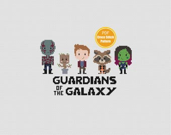 Guardians of the Galaxy Cross stitch pattern - Groot Gamora Peter Quill - PDF Instant Download - Disney