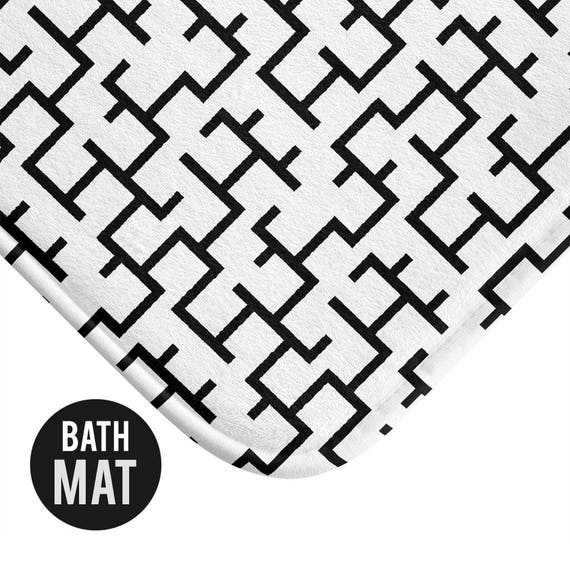 Black and White Geometric Bath Mat - Available in Two Sizes