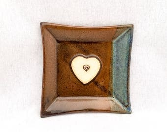 Square ceramic plate/ dish, metallic copper brown and turquoise blue glaze, heart stamp appliqué, heart plate, square heart plate, pottery