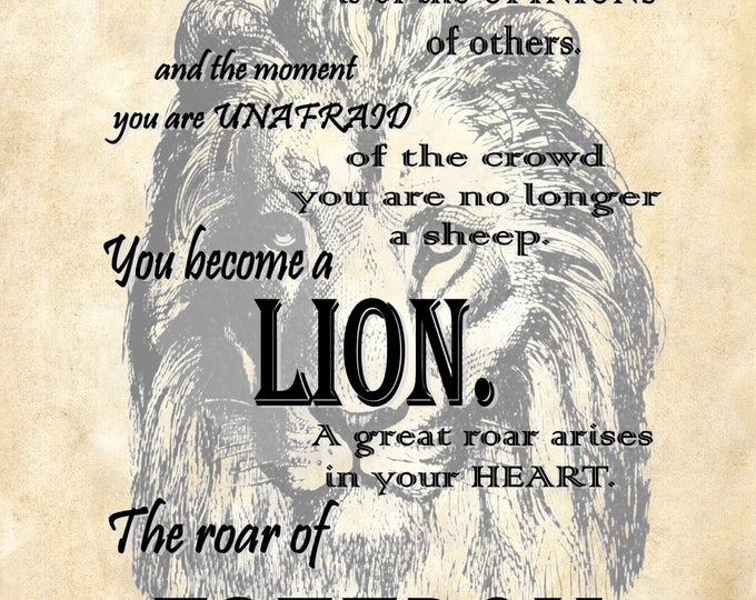 Osho quote lion freedom art print custom choice background from reproduction antique paper OSHO2987