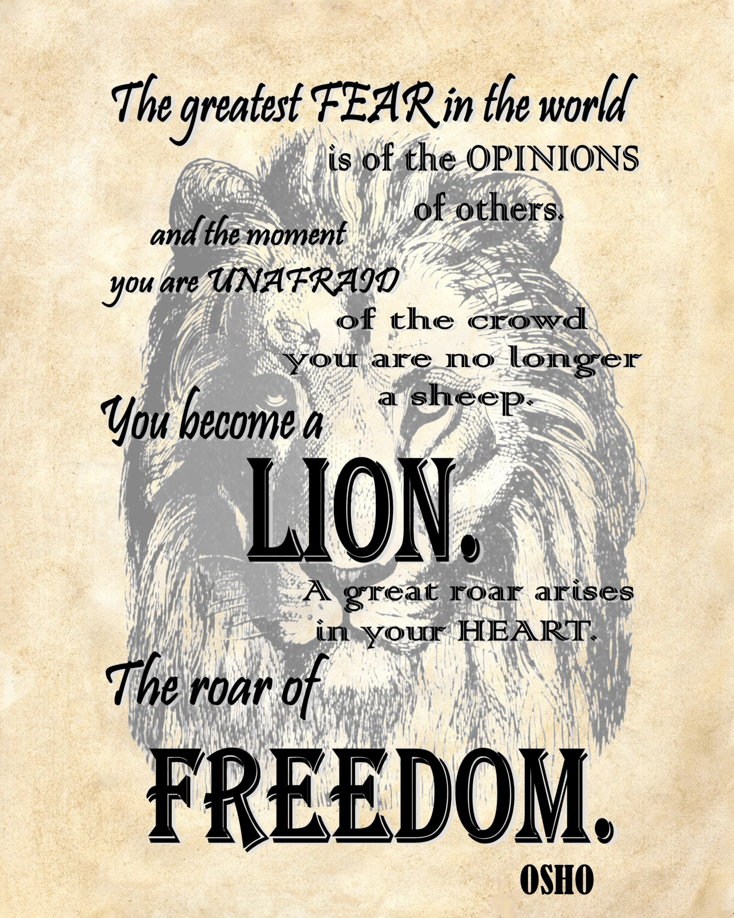 Custom Quote Prints Osho Quote Lion Freedom Art Print Custom Choice Background From