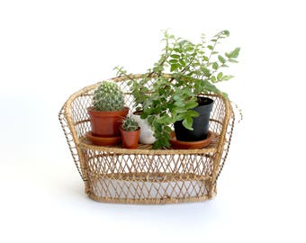 Wicker Chair Plant Stand, Natural Woven Plant Holder