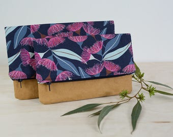 Navy foldover clutch. Clutch purse. Washable paper clutch. Floral clutch bag. Vegan leather bag. Floral purse. Bridesmaid gift.