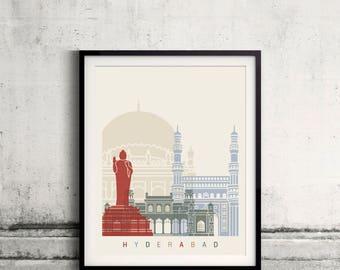 Hyderabad skyline poster - Fine Art Print Landmarks skyline Poster Gift Illustration Artistic Colorful Landmarks - SKU 2474