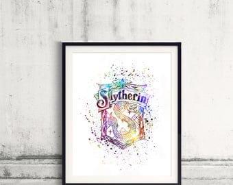 Harry Potter Slytherin House silhouette poster watercolor wall art splatter sport illustration print Glicée artistic - SKU 2763